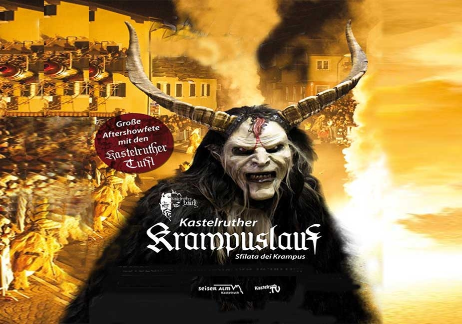 """Krampuslauf"" - Devil's Parade in Castelrotto / Kastelruth poster - www.seiseralm.it"