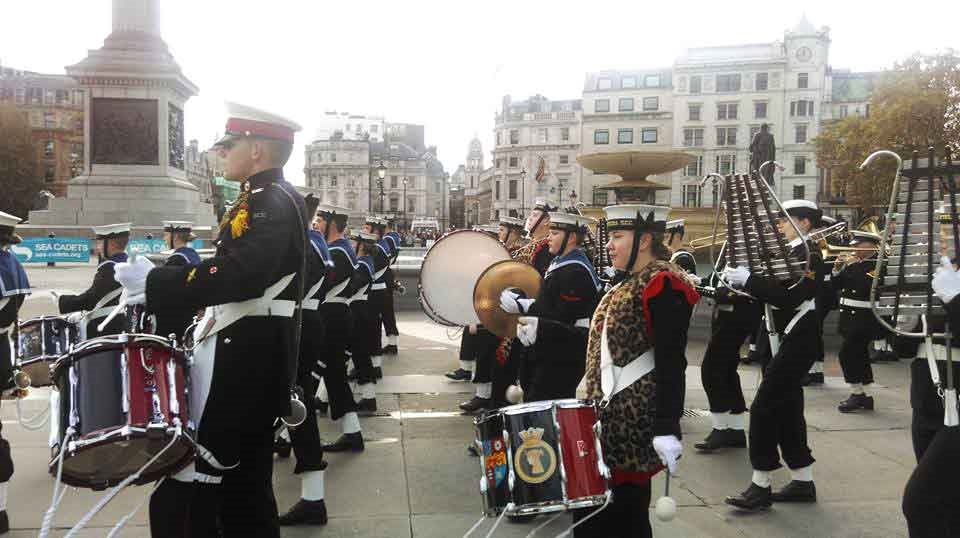The Royal Marines Cadets on the Trafalgar Square - Photo by: www.sea-cadets.org