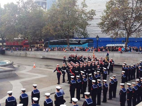 The Royal Marines Cadets on the Trafalgar Square