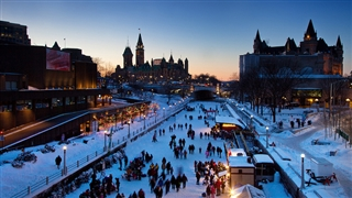 People skating on the Rideau Canal Skateway, Ottawa